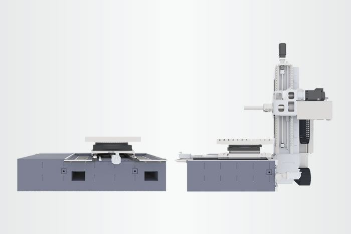 Inherently rigid Monolith™ machine bed in sandwich design; robust construction of column and boring spindle